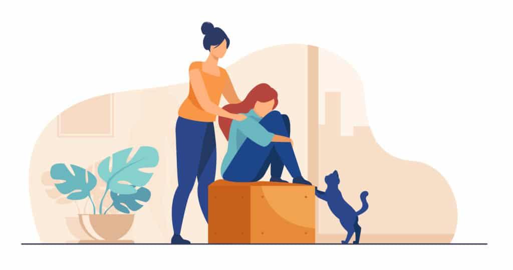 Femme qui apporte soutien et empathie à une amie, en gardant les paumes de ses mains sur son épaule. Fille ressentant du stress, de la solitude, de l'anxiété.